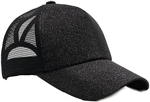 Shinny Ponytail Baseball Cap for Women Summer Mesh Cap Sun Hat Bun Baseball Hat Snapback 58-62cm Outdoor Female Golf C,Adjustable,Black