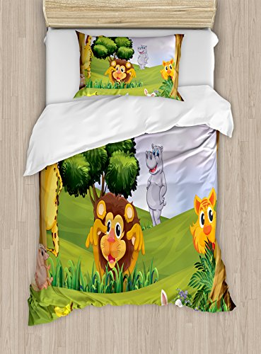(Ambesonne Zoo Duvet Cover Set Twin Size, Animals in The Forest Cartoon Illustration Safari Jungle Ecosystem Greenery, Decorative 2 Piece Bedding Set with 1 Pillow Sham, Green )