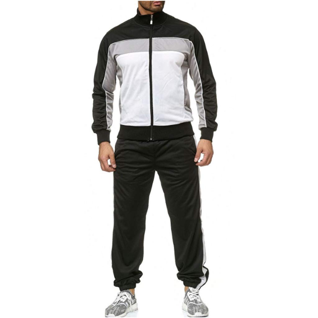 Zainafacai Men's Casual Tracksuit Full Zip Running Jogging Athletic Sports Jacket and Pants Set Sportswear Activewear White by Zainafacai