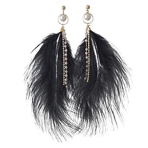 Wintefei Vintage Faux Feather Earrings Women Long Shiny Faux Pearl Chain Tassels Ear Dangle - ()
