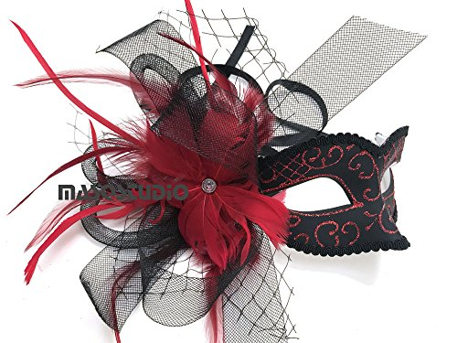 MasqStudio Black Purple Red Masquerade Ball Mask Flapper Veil Feather Mardi Gras Birthday Party Prom (Red) -
