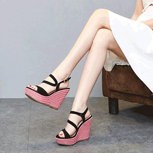 9cm I Fondo Piattaforma Dimensioni 36 Intrecciato Pista Sandali Alti Moda Nero Nero Impermeabile Sexy Con Tacchi 12 colore Romani Centimetri Spesso Slingback wfCtaWSxqt