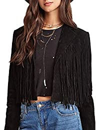 Womens Faux Suede Leather Tassel Biker Crop Jacket