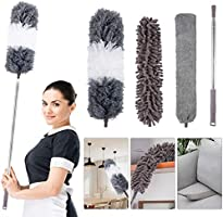 4PCS Microfiber Duster, with Extension Pole(Stainless Steel) 30 to 100 Inches, Reusable Bendable Dusters, Washable...