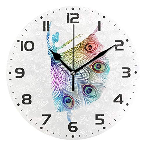 Naanle Colorful Peacock Feather Ballerina Silhouette Dancing Round/Square/Diamond Acrylic Wall Clock Oil Painting Home Office School Decorative Creative Dual Use Clock -