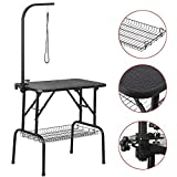 Yaheetech Foldable Pet Dog Grooming Table with Adjustable Height Arm 32-inch Drying Table w/Mesh Tray/Noose for Small Dogs Cats Non-Slip Maximum Capacity Up to 220lbs Black