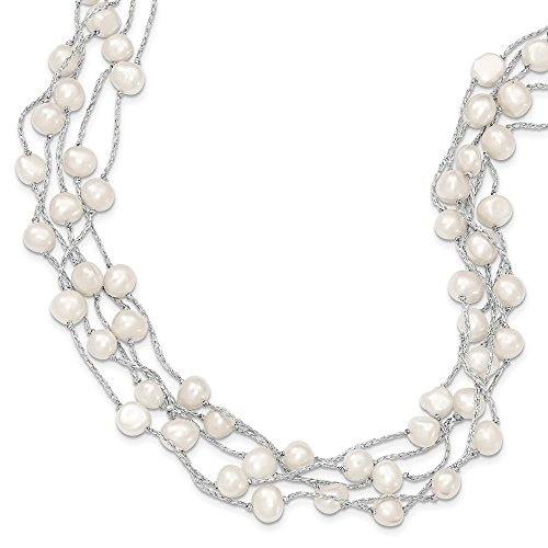- Sterling Silver FW Cultured Baroque Pearl 5 Strand Necklace