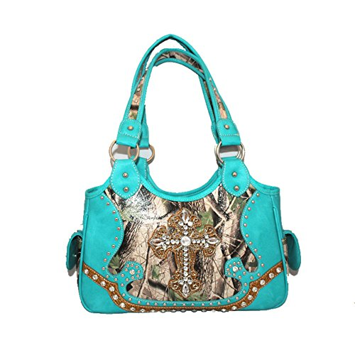 Purse Matching in A10 One Leather 3 Western Women's Camouflage Wallet Colors 5105 Light Blue Cross Set Handbag qxnw14Y1XH