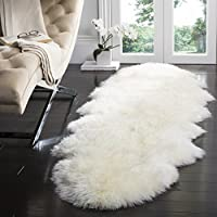 Safavieh Sheepskin Collection SHS121A Genuine Sheepskin Pelt White Premium Shag Runner (2 x 6)