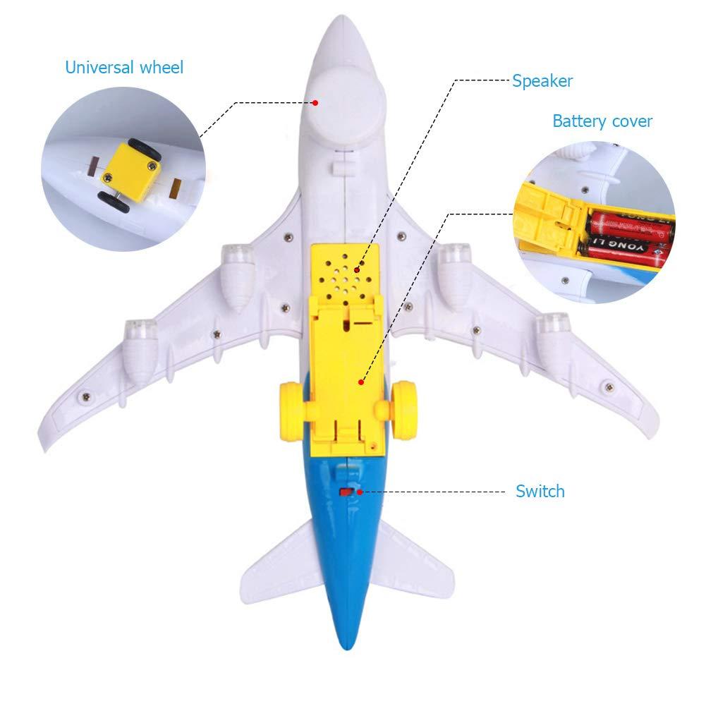 Cambio en direcci/ón al Coche para ni/ños Sonido de avi/ón Realista Lispeed Electric Airplane Juguete para ni/ños con Luces parpadeantes