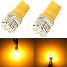 Alla Lighting T10 Wedge Amber Yellow 194 168 2825 175 W5W LED Super Bright High Power 3014 18-SMD LED Lights Bulbs for Side Marker Light