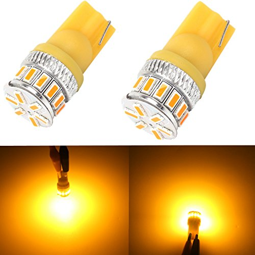 Alla Lighting T10 Wedge Amber Yellow 194 168 2825 175 W5W LED Bulbs Super Bright High Power 3014 18-SMD LED Lights Bulb Lamp Replacement (Amber Wedge Base)