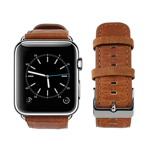 top4cus Genuine Leather iwatch Strap Replacement Band Stainless Metal Clasp, Compatible for 38mm 42mm Apple Watch Series 3 S2 S1 and Sport Edition (Retro Old Brown, 42mm)