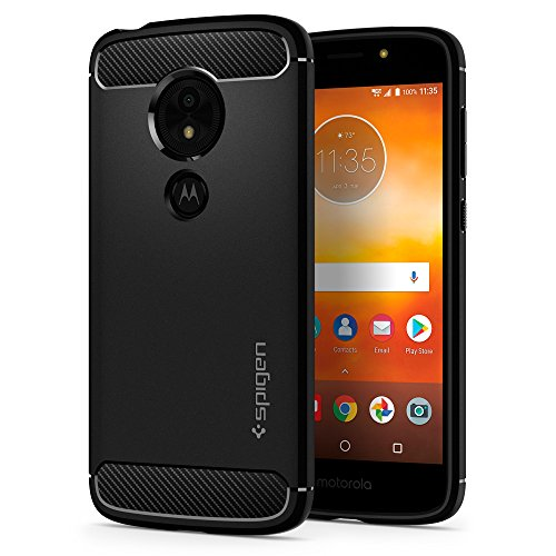 Spigen Rugged Armor Moto E5 Play Case with Flexible and Durable Shock Absorption with Carbon Fiber Design for Motorola Moto E5 Play (2018) - Black by Spigen (Image #1)