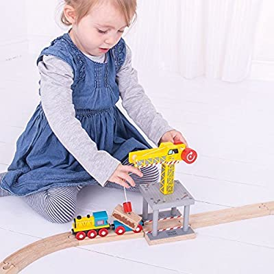 Bigjigs Rail Magnetic Big Yellow Crane - Other Major Wooden Rail Brands are Compatible: Toys & Games