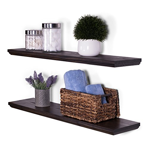 (DAKODA LOVE Wood Floating Shelves - Rustic Midnight Stain and Clear Coat Finish - 8