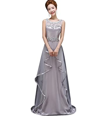 817b4f8350e Drasawee Women s Long Pearls Beading Satin Prom Formal Party Dress Evening  Gowns Grey US0