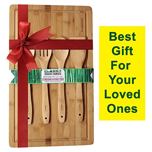 """Clasier Organic Bamboo Solid Wood Perfect Cutting Board Extra-Large 12"""" x 18"""" And Four Piece Utensils Set With Juice Tray Groove By Clasier -Eco-Friendly- Best Kitchen Chef Bread-Chopping Board."""
