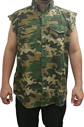 SHORE TRENDZ Men's Camo Sleeveless Denim Shirt Camouflage Shirt 2 Front Pockets: CAMO (XXL)