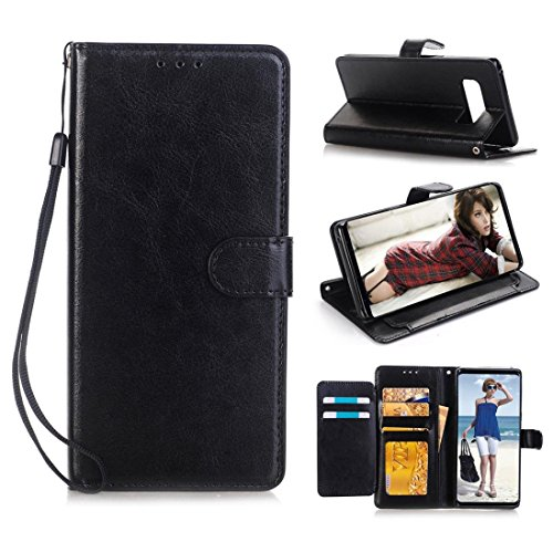 Price comparison product image Galaxy Note 8 Wallet Flip Case,Minertech Magnetized Closure Card Slots Money Pouch, Retro Leather Wallet Case Purse Protective Cover Stand Feature Flip Case For Samsung Galaxy Note 8 (Black)