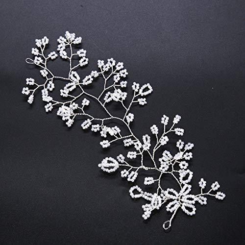 Bridal Hair Vine Pearl Flower Headband Wedding Party Prom Hair Clip Headdress