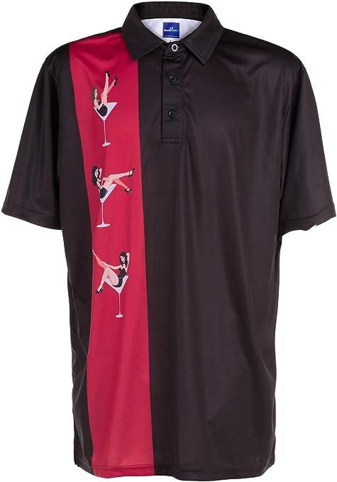Amazon.com: ReadyGOLF Mens Golf Polo Shirt - Martini Girls Large ...