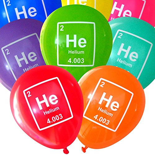 Mad Science Party Balloons - Helium Periodic Table Element (16 pcs, Deluxe 2-Sided) by Nerdy Words (Science Birthday Party Ideas)