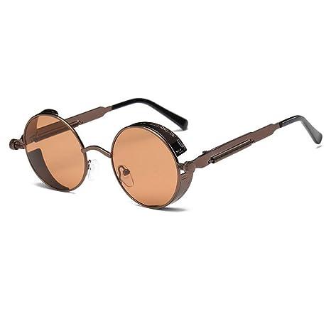 FUZHISI Gafas de Sol Gafas de Sol Redondas de Metal Hombres ...