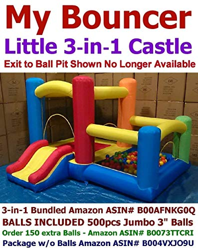 "BUNDLED WITH BALLS - My Bouncer 3-in-1 Little Castle Bounce 118"" L X 102"" D X 72"" H with Attached Ball Pit and Slide"