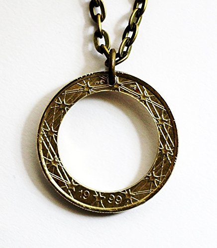 French Coin Hoop Necklace Circle Pendant 1 Euro 1999 France Repurposed Jewelry