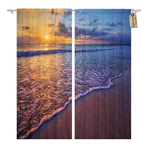Radiant Rod Pocket - Golee Window Curtain Sunrise Radiant Sea Beach Sunset Bali Florida Diego Miami Home Decor Rod Pocket Drapes 2 Panels Curtain 104 x 84 inches