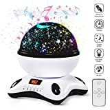 Star Night Light Projector,360 Degree Rotating Lamp with Timer,Home Decoration Lamp for Birthday,Party,Wedding,Christmas (Black & White)