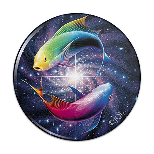 Pisces Zodiac Symbol Fish in Space Yin Yang Compact Pocket Purse Hand Cosmetic Makeup Mirror - 3
