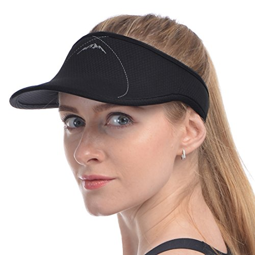 UShake Sports Visor for Man or Woman in Golf Running Jogging with Black/White/Rose Red Colors (Black) -