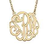 Monogram Sterling Silver Rose 40mm Hi Polish Script Personalized Necklace