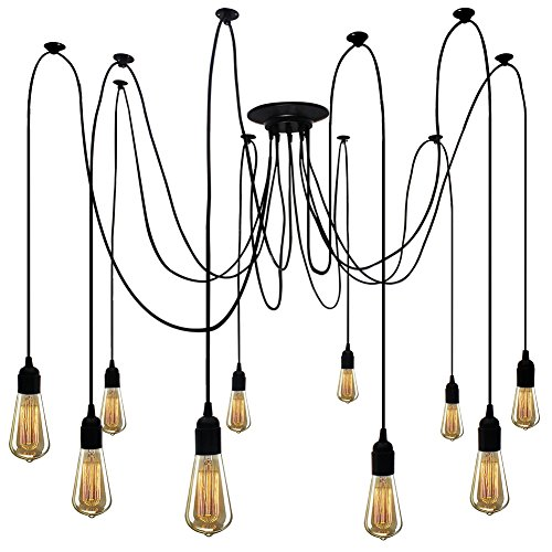 (Spider Pendant Lighting Fixture 10 Arms Vintage Chandelier Adjustable DIY Ceiling Light Antique Lamp Cord for Living Room Hall)