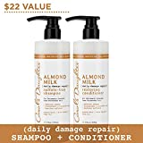 Carol's Daughter Almond Milk Daily Damage Repair Shampoo and Conditioner Set For Damaged Hair, Shampoo and Restoring Hair Conditioner with Shea and Aloe (Packaging May Vary)