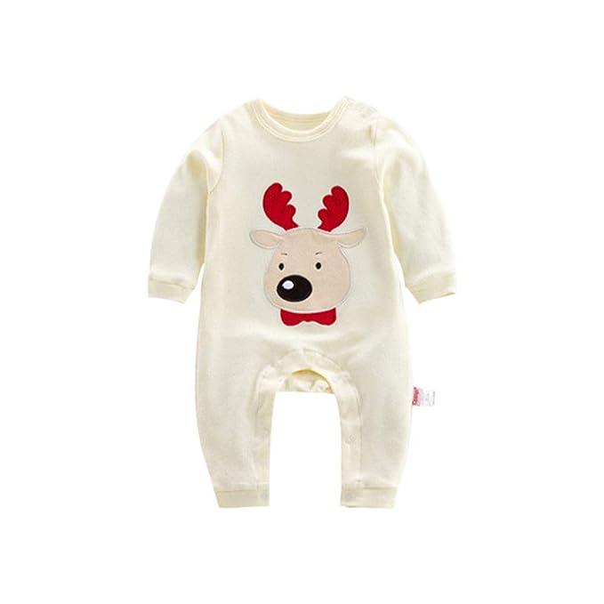 Ansemen Mono de Patrón Infantil de Navidad - Pijamas de Bebé Mameluco de Algodón para Niños