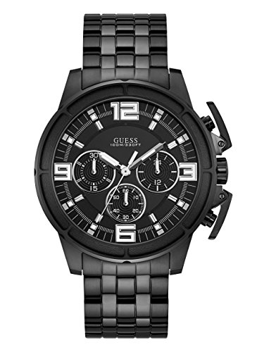 Guess Mens Stainless Steel Bracelet - GUESS Men's Stainless Steel Bracelet Watch, Color: Black (Model: U1114G1)