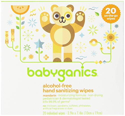 Babyganics Алкоголь-Free Hand дезинфекции салфетки, свет цитрусовые, 20 On-The-Go салфетки, комплектация может отличаться