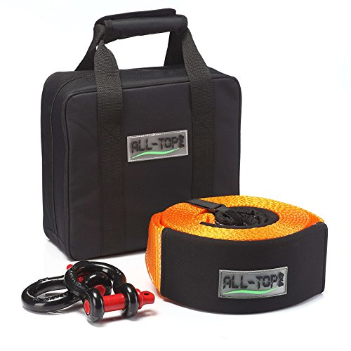 ALL-TOP Extreme Duty Tow Strap Recovery Kit : 4 inch x 20 ft (42,000 lbs) 100% Nylon and 22% Elongation Snatch Strap + 3/4 Extreme Duty D Ring Shackles (2pcs) + Storage Bag. A Must-Have KIT by ALL-TOP