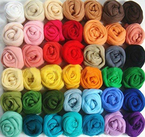 50 Colors Felting Wool Fibre Wool Yarn Roving for Needle Felting Hand Spinning DIY Craft (Roving Fiber)