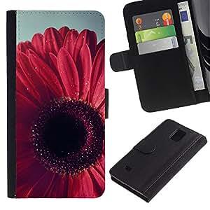 Planetar® Modelo colorido cuero carpeta tirón caso cubierta piel Holster Funda protección Para Samsung Galaxy Note 4 IV / SM-N910 ( Petal Floral Pink Purple )