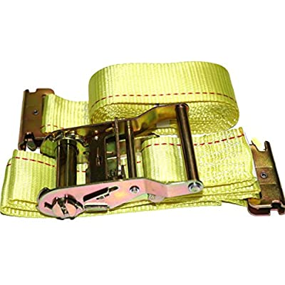"""DKG 2"""" x 12' E Track Ratchet Straps – Ideal Enclosed Trailer Tie Down & Dry Van Cargo Straps – Standard E Track Spring Fittings or Connectors – Heavy Duty Steel Ratchet & Polyester Webbing (4 Pack)"""