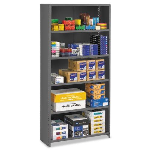 (Closed Commercial Steel Shelving, Six-Shelf, 36w x 12d x 75h, Medium Gray)