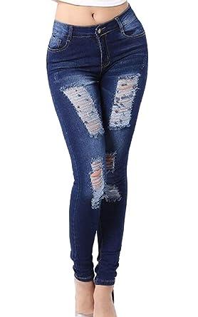 Amazon.com: Yayu – Pantalones vaqueros sexy para mujer con ...