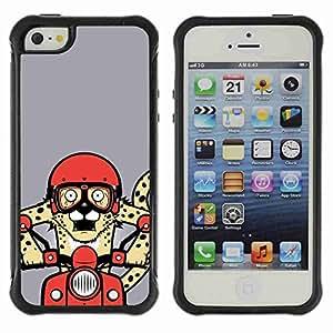 A-type Arte & diseño Anti-Slip Shockproof TPU Fundas Cover Cubre Case para Apple iPhone 5 / 5S ( Funny Cheetah Riding Roller )
