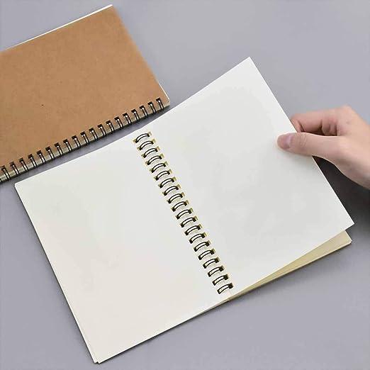 Bloc Notas para Pintar Acuarela Cuaderno Bocetos Papel Dibujo en Blanco Diario 100 P/áginas Espiral Cuaderno Encuadernado 2PCS Cuadernos de Bocetos A5 Bloc Dibujo Cubierta Kraft Negro