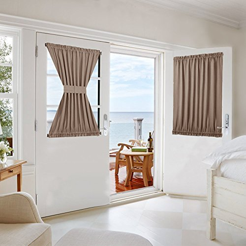 Nicetown Blackout Curtain and Drapery for Doors - Light Blockig Blackout Patio Door Curtain Panel (One Piece, W54 x L40-Inch, Taupe, Tie Back Included)