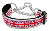 Mirage Pet Products Tiled Union Jack UK Flag Nylon Ribbon Collar Martingale for Pets, Large